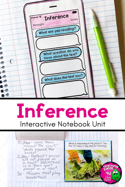 Inference Reading Strategy Unit: Notes, Practice, & Assessment - Let your 2nd, 3rd, 4th, & 5th grade classroom or home school students get loads of great reading practice with this 24 page unit. Includes a graphic organizer to compare & contrast inference, observation, & prediction. Instruction is broken down into manageable steps. Great for ELA, reading strategies, literature circles, interactive notebooks, & more. {second, third, fourth, fifth graders, homeschool}