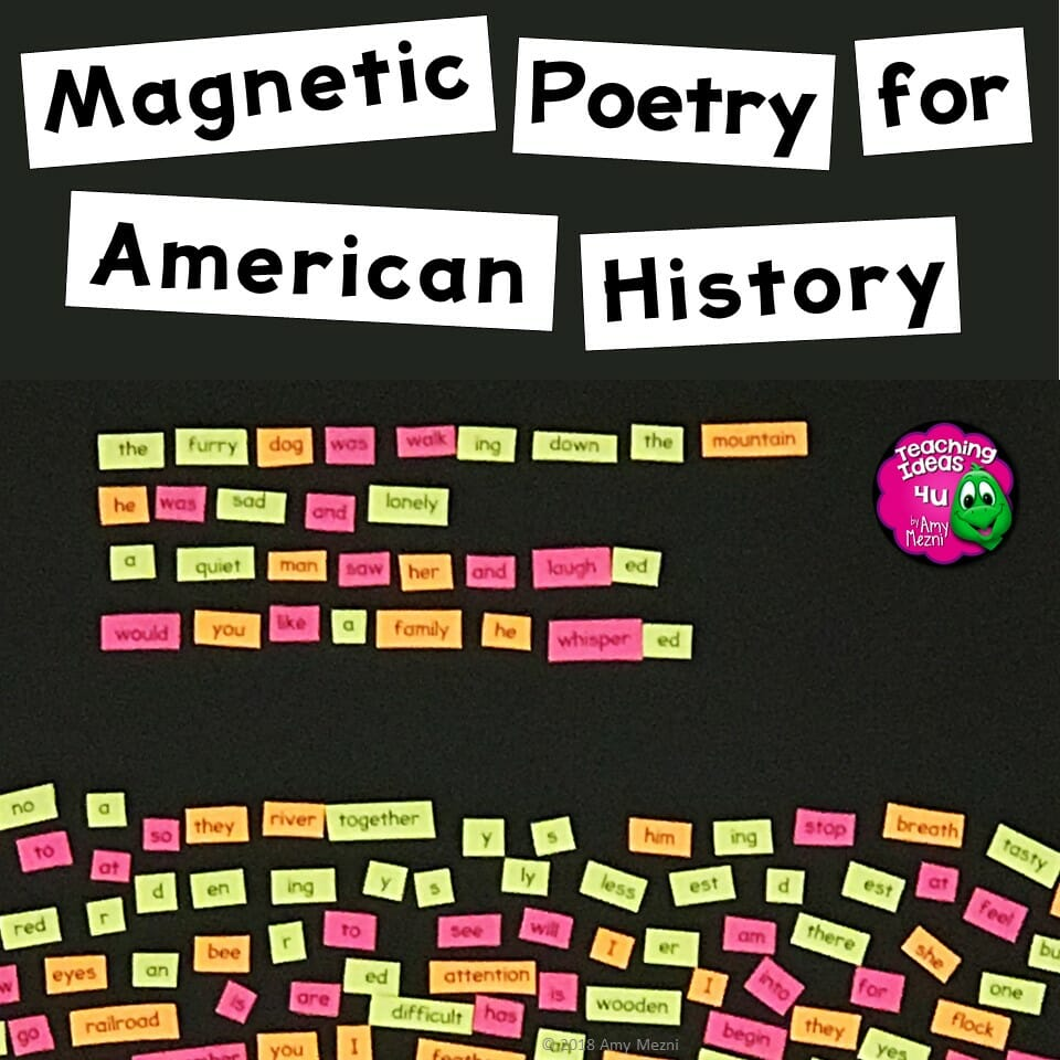 American history word list templates to make your own poetry magnets.