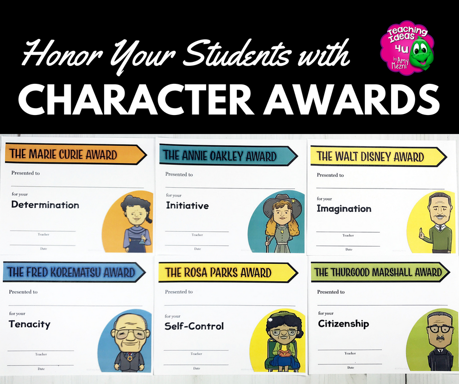 This year, celebrate your students character by giving end of the year awards that focus on positive character traits. Each trait is related to a historical person. Great for upper elementary, middle school, or high school students.
