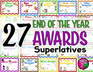 Teaching Ideas 4U - Amy Mezni - 27 End of the Year Superlative Award Certificates & 2 Nomination Sheets