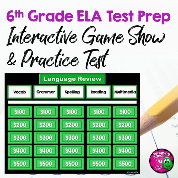 Teaching Ideas 4U - Amy Mezni - 6th Grade ELA Test Prep Set Paired Reading Passages, Game Show, & Practice Test