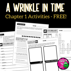 Teaching Ideas 4U - Amy Mezni - A Wrinkle in Time Novel Unit Chapter 1 FREEBIE