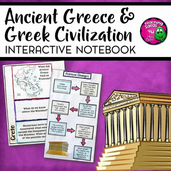 Teaching Ideas 4U - Amy Mezni - Ancient Greece & Greek Civilization Interactive Notebook Unit 6th Grade INB