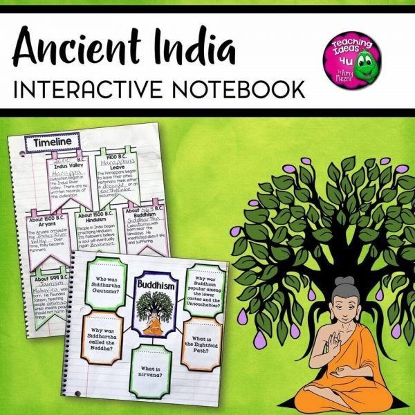 Teaching Ideas 4U - Amy Mezni - Ancient India Interactive Notebook Unit 6th Grade INB Hinduism Buddhism