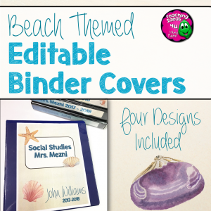 Teaching Ideas 4U - Amy Mezni - Beach & Ocean Themed Editable Binder Covers Classroom Decor Blue & Tan