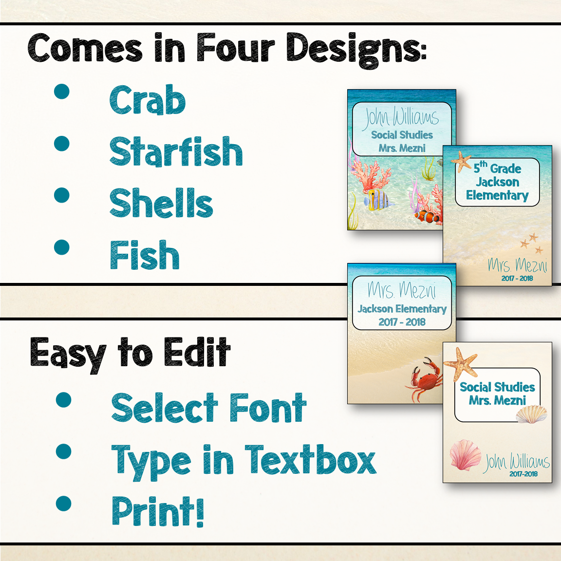 Beach & Ocean Themed Editable Binder Covers Classroom