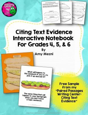 Teaching Ideas 4U - Amy Mezni - Citing Text Evidence in Essay Writing Interactive Notebook Freebie