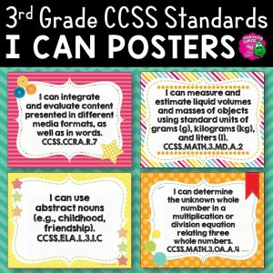 Teaching Ideas 4U - Amy Mezni - 3rd Grade I Can Posters CCSS ELA & Math Common Core Standards