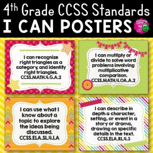 Teaching Ideas 4U - Amy Mezni - 4th Grade I Can Posters CCSS ELA & Math Common Core Standards