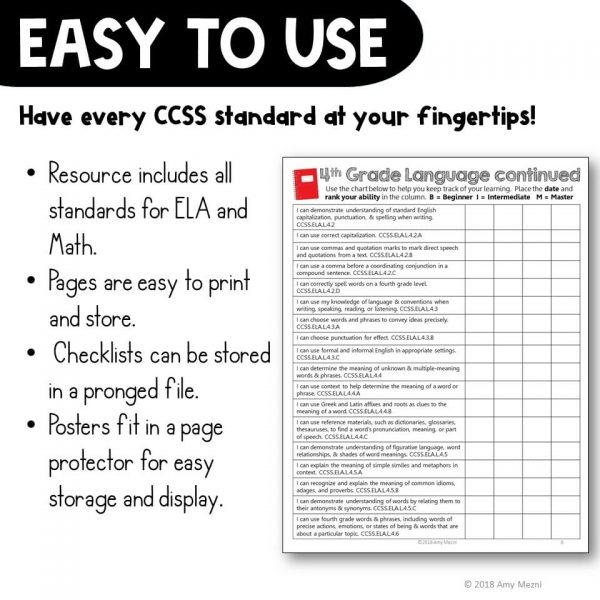 Teaching-Ideas-4U-Amy-Mezni-4th-Grade-I-Can-Posters-Checklists-CCSS-Math-ELA-Bundle