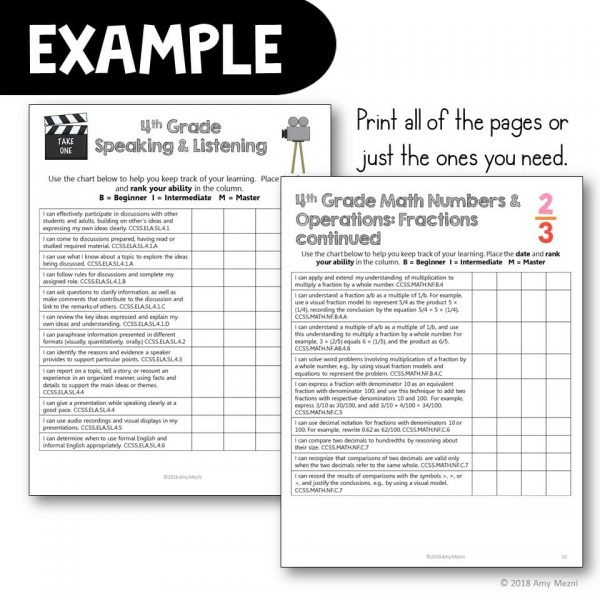 Teaching Ideas 4U - Amy Mezni - 4th Grade I Can Posters & Checklists CCSS Math & ELA Bundle