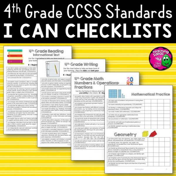 Teaching Ideas 4U - Amy Mezni - 4th Grade I Can Student Checklists for CCSS ELA & Math Common Core Standards