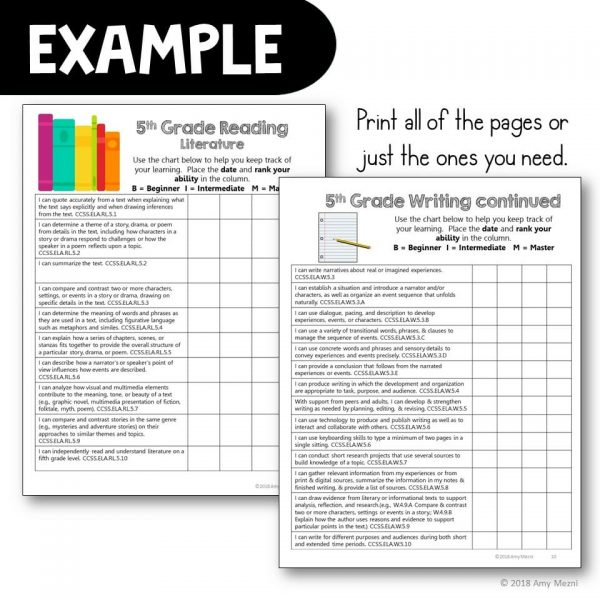 Teaching Ideas 4U - Amy Mezni - 5th Grade I Can Posters & Checklists CCSS ELA Standards Bundle