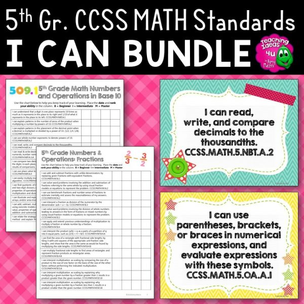 Teaching Ideas 4U - Amy Mezni - 5th Grade I Can Posters & Checklists CCSS MATH Standards Bundle