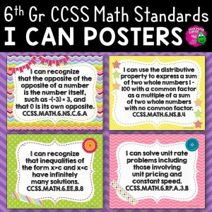 Teaching Ideas 4U - Amy Mezni - 6th Grade I Can Posters CCSS MATH Common Core Standards