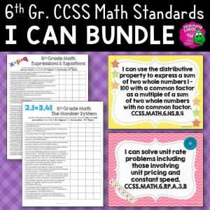 Teaching Ideas 4U - Amy Mezni - 6th Grade I Can Posters & Checklists CCSS MATH Standards Bundle