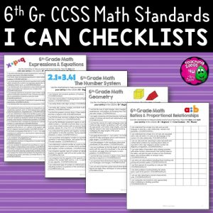 Teaching Ideas 4U - Amy Mezni - 6th Grade I Can Student Checklists for CCSS MATH Common Core Standards