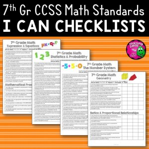 Teaching Ideas 4U - Amy Mezni - 7th Grade I Can Student Checklists for CCSS MATH Common Core Standards