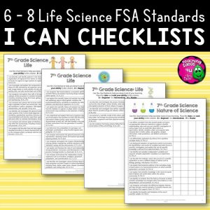 Teaching Ideas 4U - Amy Mezni - 7th Grade Life Science I Can Student Checklists Florida Standards