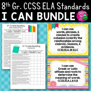 Teaching Ideas 4U - Amy Mezni - 8th Grade I Can Posters & Checklists CCSS ELA Standards Bundle