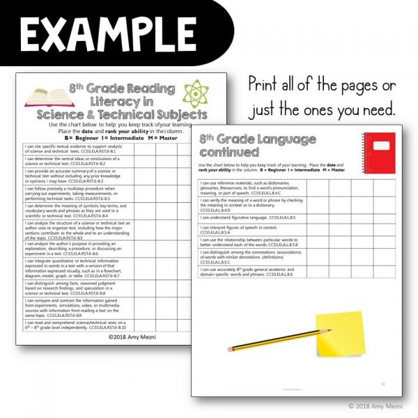 Teaching Ideas 4U - Amy Mezni - 8th Grade I Can Student Checklists for CCSS ELA Common Core Standards