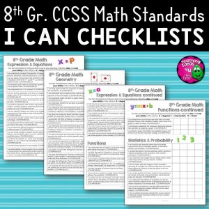 Teaching Ideas 4U - Amy Mezni - 8th Grade I Can Student Checklists for CCSS MATH Common Core Standards