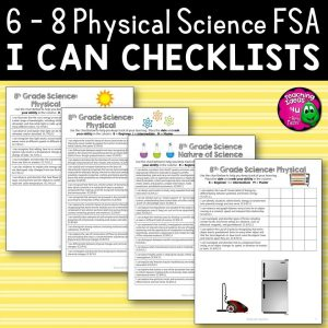 Teaching Ideas 4U - Amy Mezni - 8th Grade Physical Science I Can Student Checklists Florida Standards