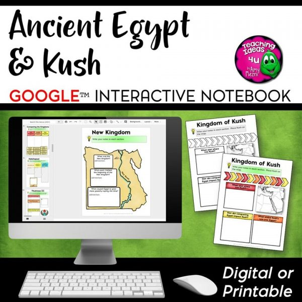 Teaching Ideas 4U - Amy Mezni - Ancient Egypt and Kush DIGITAL Interactive Notebook Unit World History