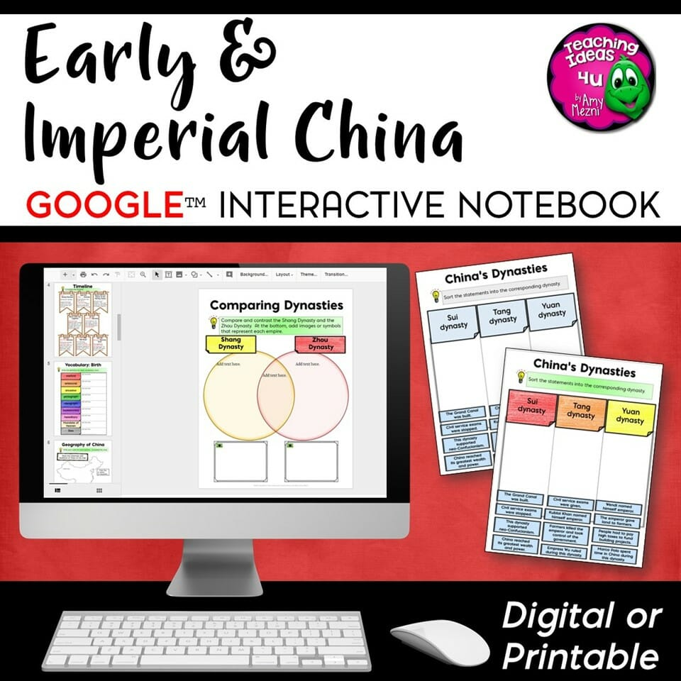 Teaching Ideas 4U - Amy Mezni - Ancient & Imperial China DIGITAL Interactive Notebook Unit World History Mongols