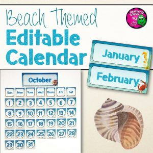 Teaching Ideas 4U - Amy Mezni - Beach & Ocean Themed Editable Classroom Calendar Set Decor Blue & Tan