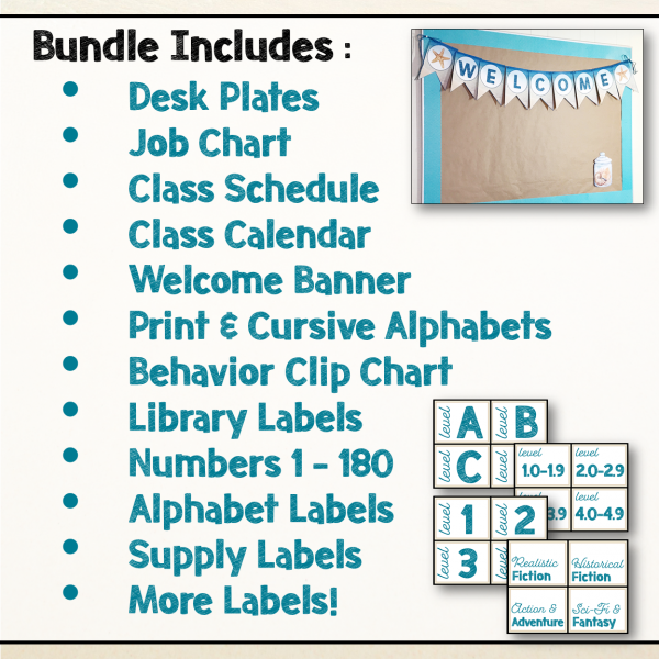 Teaching Ideas 4U - Amy Mezni - Beach & Ocean Themed Editable Classroom Decor Set Bundle
