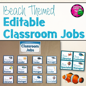 Teaching Ideas 4U - Amy Mezni - Beach & Ocean Themed Editable Classroom Jobs Set Decor Blue & Tan