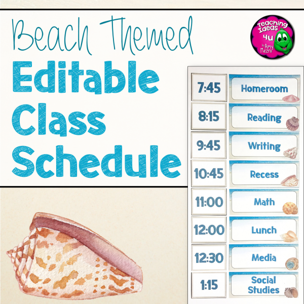 Teaching Ideas 4U - Amy Mezni - Beach & Ocean Themed Editable Classroom Schedule Set Decor Blue & Tan
