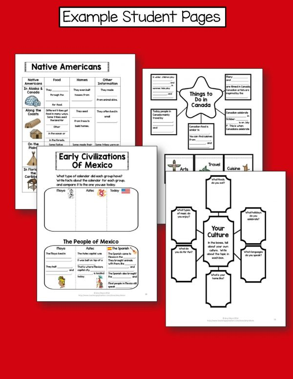 Teaching Ideas 4U - Amy Mezni - Celebrating Cultures of North America & Caribbean Interactive Notebook 3rd Grade