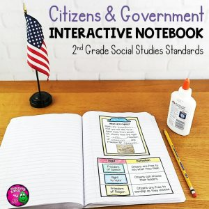 Teaching Ideas 4U - Amy Mezni - Citizens & Government Interactive Notebook for 2nd Grade Social Studies Civics