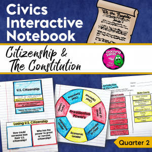 Teaching Ideas 4U - Amy Mezni - Civics & Government Interactive Notebook Citizenship & the U.S. Constitution