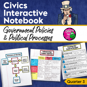 Teaching Ideas 4U - Amy Mezni - Civics & Government Interactive Notebook Government Policies Political Processes