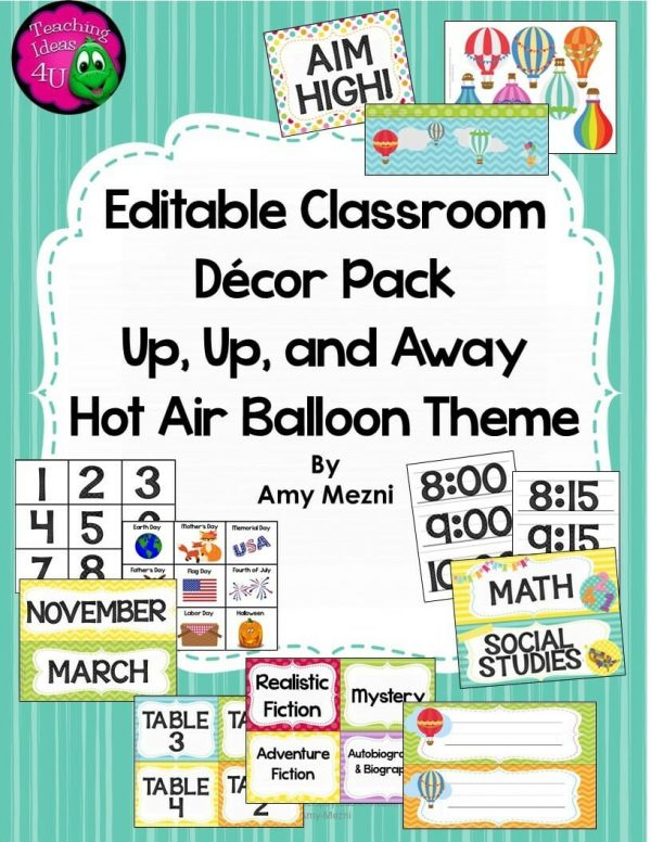 Teaching Ideas 4U - Amy Mezni - Classroom Decor Editable Hot Air Balloon Theme Bright Colors