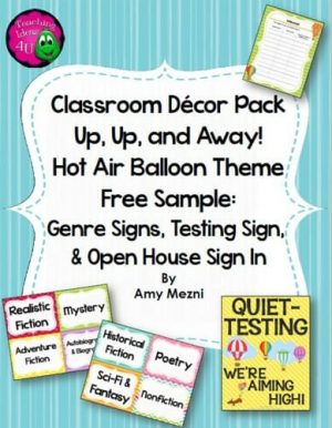 Teaching Ideas 4U - Amy Mezni - Classroom Decor Hot Air Balloon Theme FREE SAMPLE Genre & Testing Signs+
