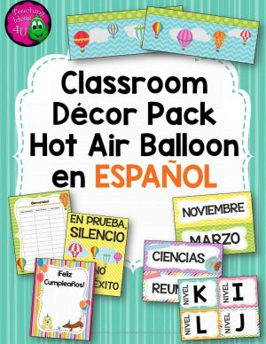 Teaching Ideas 4U - Amy Mezni - Classroom Decor Hot Air Balloon Theme SPANISH Version Editable Bright Colors
