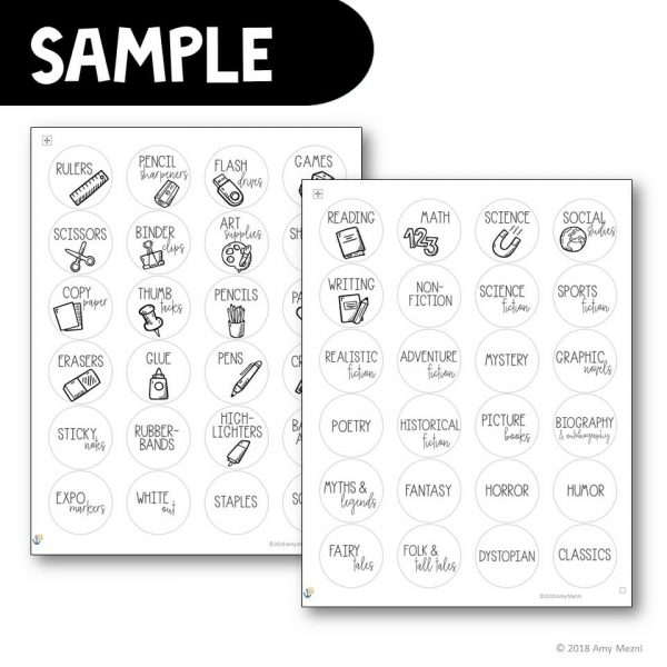 Teaching Ideas 4U - Amy Mezni - Classroom Label Templates for Avery Printable Stickers