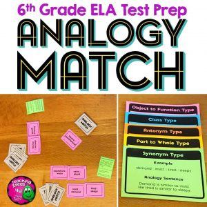 Teaching Ideas 4U - Amy Mezni - ELA Test Prep ANALOGY MATCH Card Game 6th Grade FSA AIR