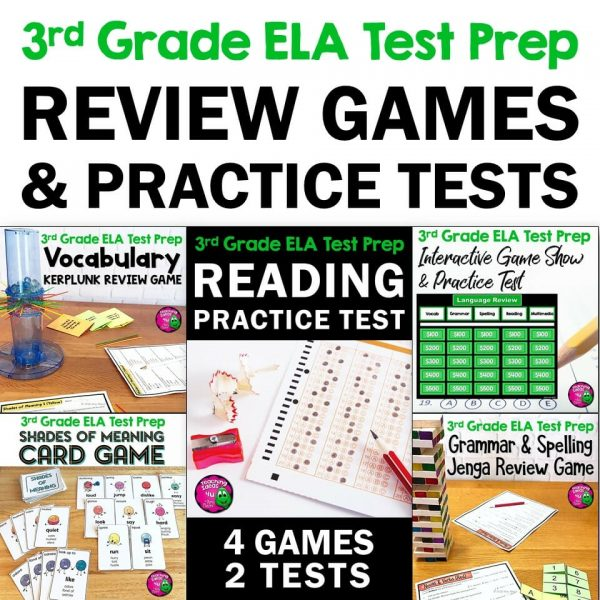 Teaching Ideas 4U - Amy Mezni - ELA Test Prep Bundle 3rd Grade 4 Games & 1 Reading Practice Test FSA