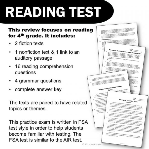 Teaching Ideas 4U - Amy Mezni - ELA Test Prep Bundle 4th Grade 4 Games & 1 Reading Practice Test FSA