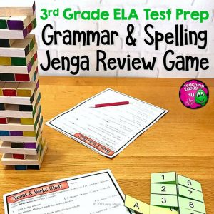 Teaching Ideas 4U - Amy Mezni - ELA Test Prep Grammar & Spelling JENGA Review Game 3rd Grade FSA AIR