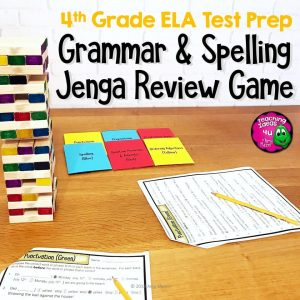Teaching Ideas 4U - Amy Mezni - ELA Test Prep Grammar & Spelling JENGA Review Game 4th Grade FSA AIR