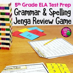 Teaching Ideas 4U - Amy Mezni - ELA Test Prep Grammar & Spelling JENGA Review Game 5th Grade FSA AIR