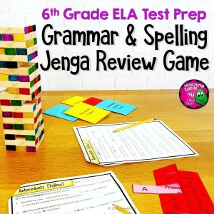 Teaching Ideas 4U - Amy Mezni - ELA Test Prep Grammar & Spelling JENGA Review Game 6th Grade FSA AIR