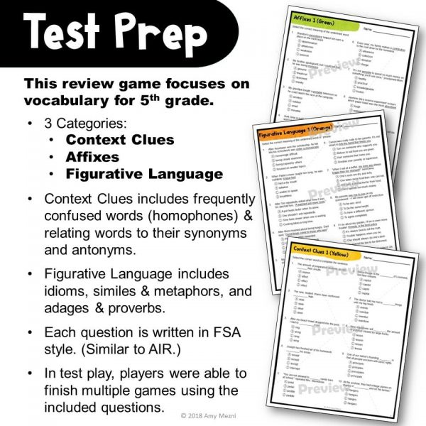 Teaching Ideas 4U - Amy Mezni - ELA Test Prep Vocabulary Kerplunk Review Game 5th Grade FSA AIR