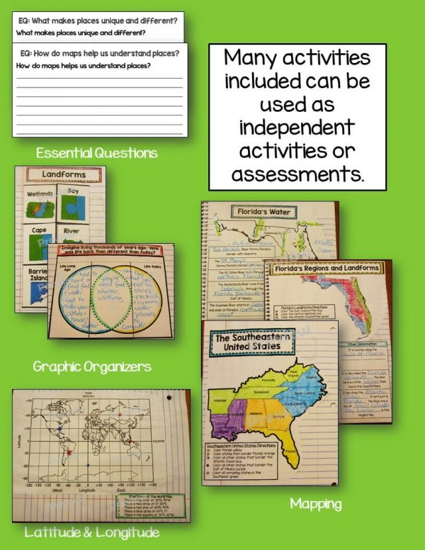 Teaching Ideas 4U - Amy Mezni - Florida Geography & Early People Interactive Notebook 4th Grade Unit 1
